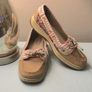 Sperry Boat Shoes w/ Pink Floral & Stripe Sz 6.5